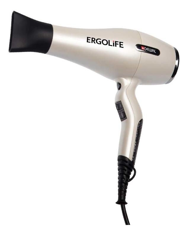 цена на Фен для волос ErgoLife 03-001 2200W (2 насадки, белый)