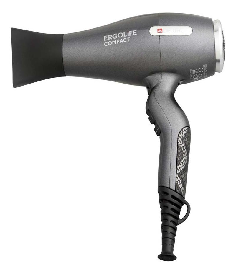 цена на Фен для волос ErgoLife Compact 03-002 2000W (2 насадки, серый)