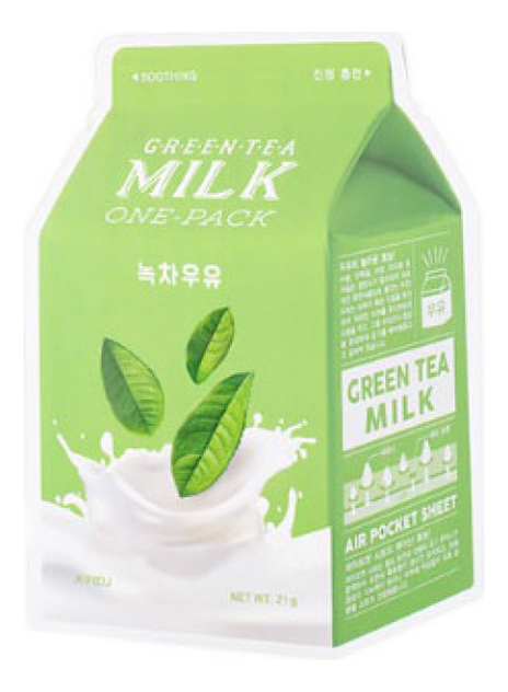 Купить Маска для лица с экстрактом зеленого чая Green Tea Milk One-Pack 21г, A'PIEU