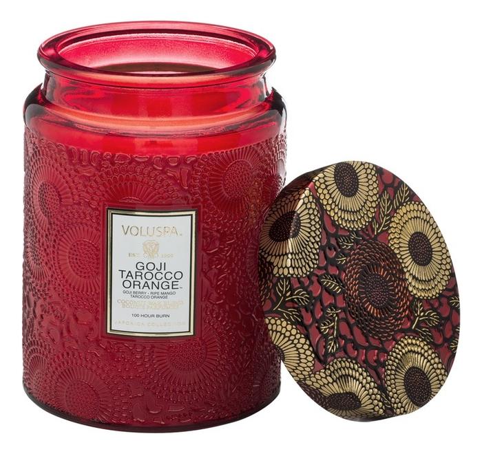 Купить Ароматическая свеча Goji Tarocco Orange (ягода Годжи и красный апельсин): свеча в большом стеклянном подсвечнике 453г, VOLUSPA