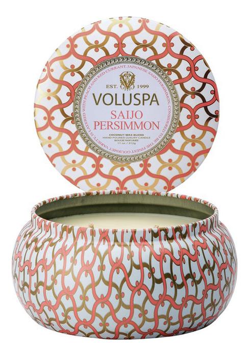 Купить Ароматическая свеча Saijo Persimmon (японская хурма): свеча в алюминиевом подсвечнике с 2 фитилями 312г, VOLUSPA