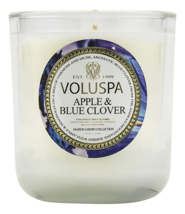 Купить Ароматическая свеча Apple & Blue Clover (яблоко и голубой клевер): свеча в стеклянном подсвечнике с крышкой 397г, Ароматическая свеча Apple & Blue Clover (яблоко и голубой клевер), VOLUSPA