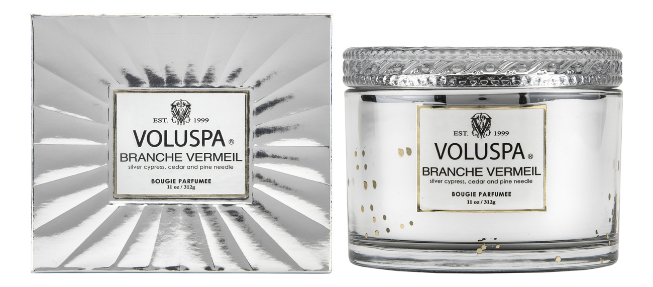 Купить Ароматическая свеча Branche Vermeil (ель и бальзам): свеча в подарочной коробке 312г, VOLUSPA