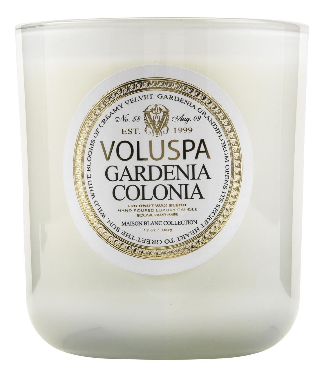 Ароматическая свеча Gardenia Colonia (гардения): свеча в маленькой стеклянной банке с крышкой 156г