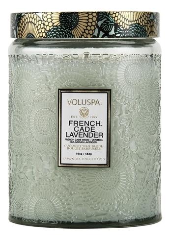 Фото - Ароматическая свеча French Cade Lavender (лаванда и вербена): свеча в большом стеклянном подсвечнике 453г ароматическая свеча lavender vanilla лаванда и ваниль свеча 680г