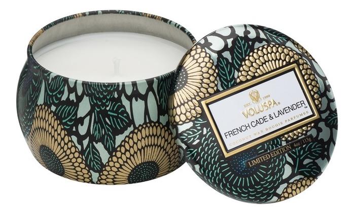 Купить Ароматическая свеча French Cade & Lavender (лаванда и вербена): свеча в декоративном подсвечнике 113г, Ароматическая свеча French Cade & Lavender (лаванда и вербена), VOLUSPA