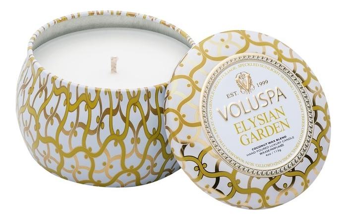 Купить Ароматическая свеча Elysian Garden (цитрус и нежная зелень): свеча в декоративном подсвечнике 113г, VOLUSPA