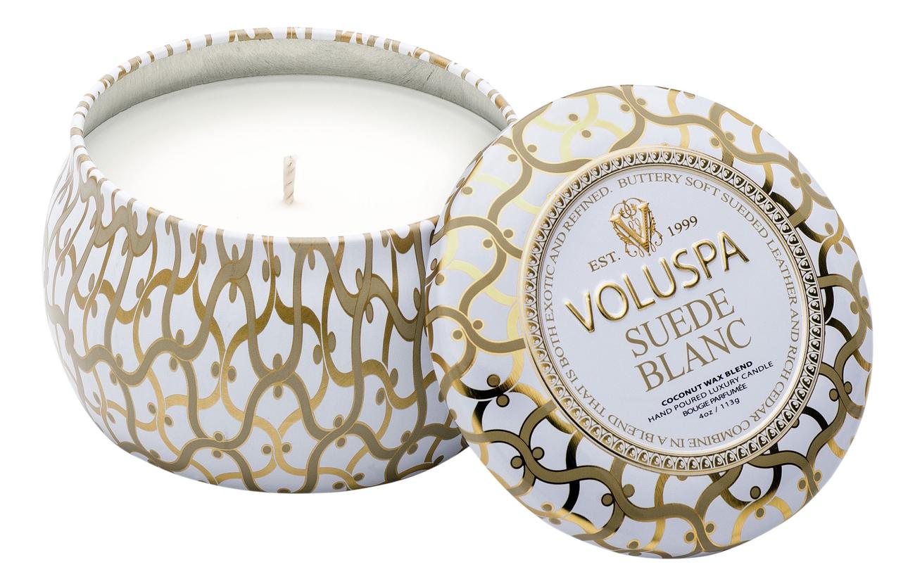 Купить Ароматическая свеча Suede Blanc (белая замша): свеча в декоративном подсвечнике 113г, VOLUSPA