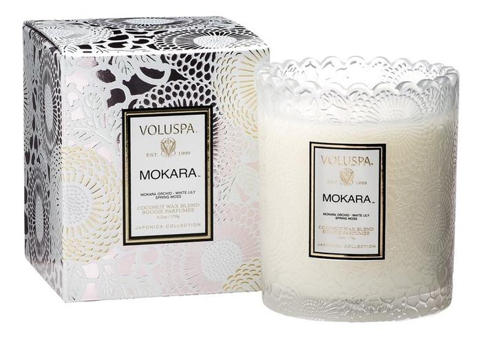 Ароматическая свеча Mokara (орхидея и белая лилия): свеча в подарочной упаковке 176г ароматический спрей для дома и тела mokara 100мл орхидея и белая лилия