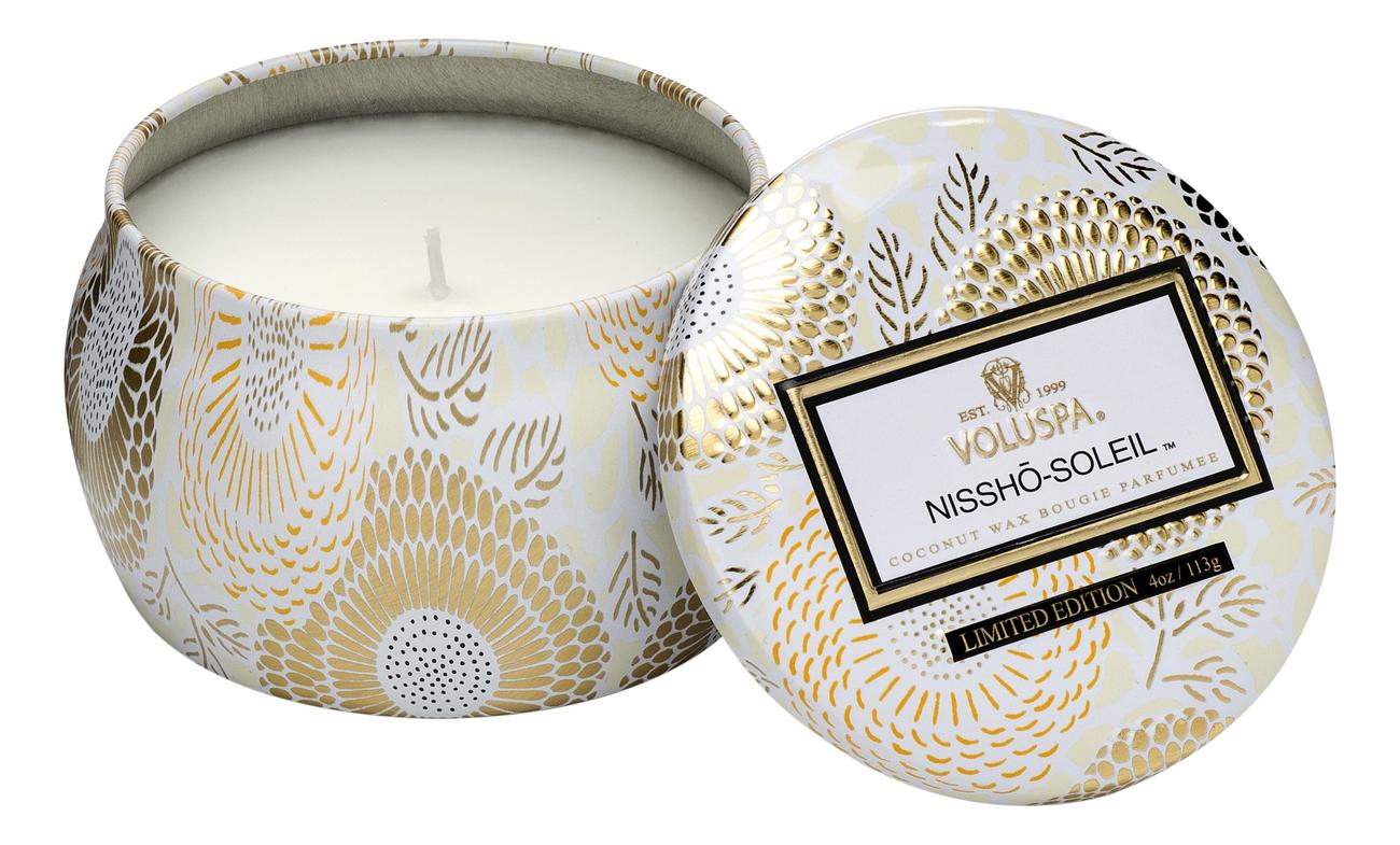 Купить Ароматическая свеча Nissho-Soleil (ананас, мандарин и ваниль): свеча в декоративном подсвечнике 113г, VOLUSPA