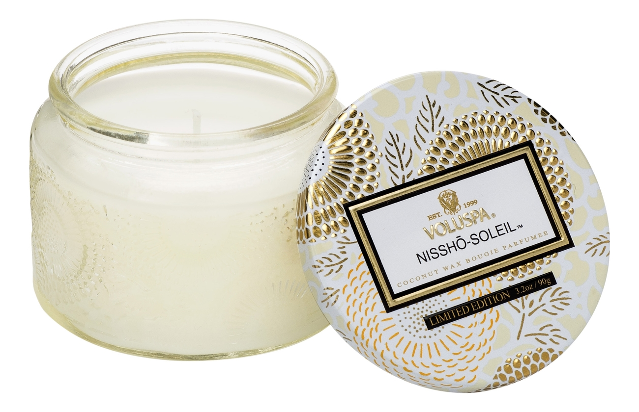 Купить Ароматическая свеча Nissho-Soleil (ананас, мандарин и ваниль): свеча в стеклянном подсвечнике 90г, VOLUSPA