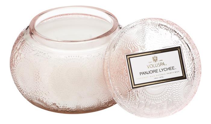 Ароматическая свеча Panjore Lychee (панжерское личи): свеча в стеклянном подсвечнике с крышкой 397г ароматический спрей для дома и тела panjore lychee 100мл панжерское личи