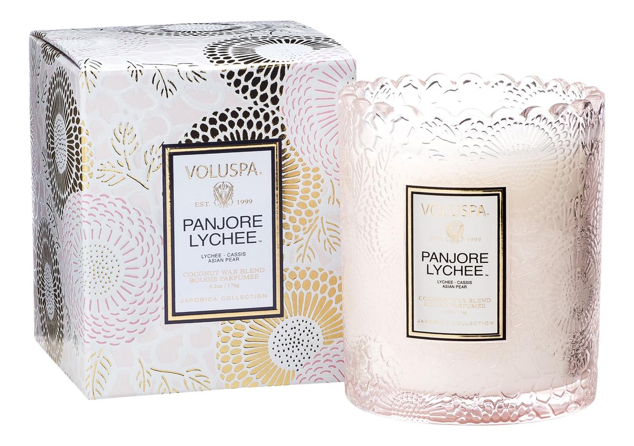 Ароматическая свеча Panjore Lychee (панжерское личи): свеча в подарочной коробке 176г ароматический спрей для дома и тела panjore lychee 100мл панжерское личи