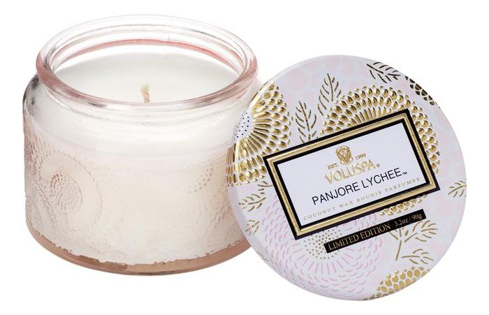 Ароматическая свеча Panjore Lychee (панжерское личи): свеча в маленьком стеклянном подсвечнике 90г ароматический спрей для дома и тела panjore lychee 100мл панжерское личи