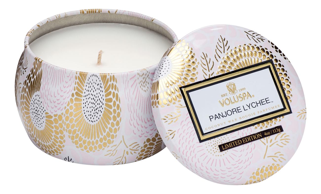 Ароматическая свеча Panjore Lychee (панжерское личи): свеча в декоративном подсвечнике 113г ароматический спрей для дома и тела panjore lychee 100мл панжерское личи