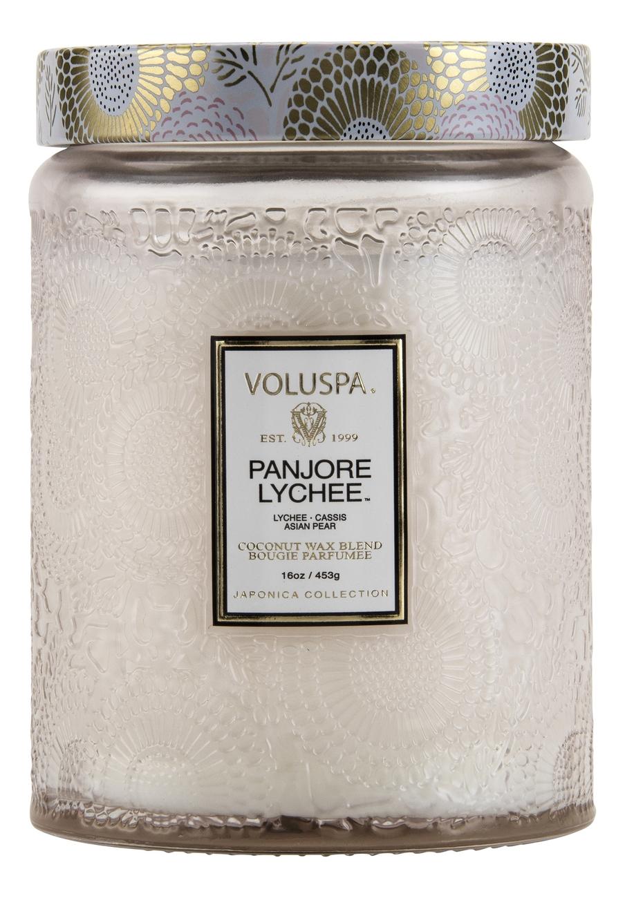 Ароматическая свеча Panjore Lychee (панжерское личи): свеча в большом стеклянном подсвечнике 453г ароматический спрей для дома и тела panjore lychee 100мл панжерское личи