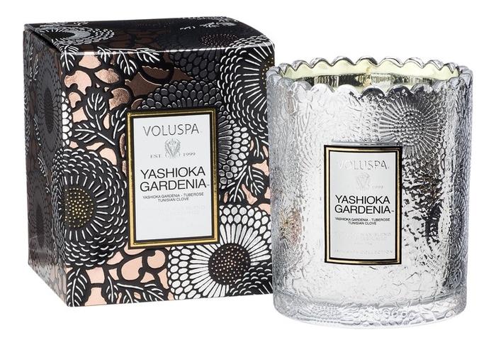 Ароматическая свеча Yashioka Gardenia (гардения и тубероза): свеча в подарочной коробке 176г ароматический спрей для дома и тела yashioka gardenia 100мл гардения и тубероза