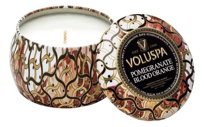 Купить Ароматическая свеча Pomegranate Blood Orange (красный апельсин и гранат): свеча в декоративном подсвечнике 113г, VOLUSPA