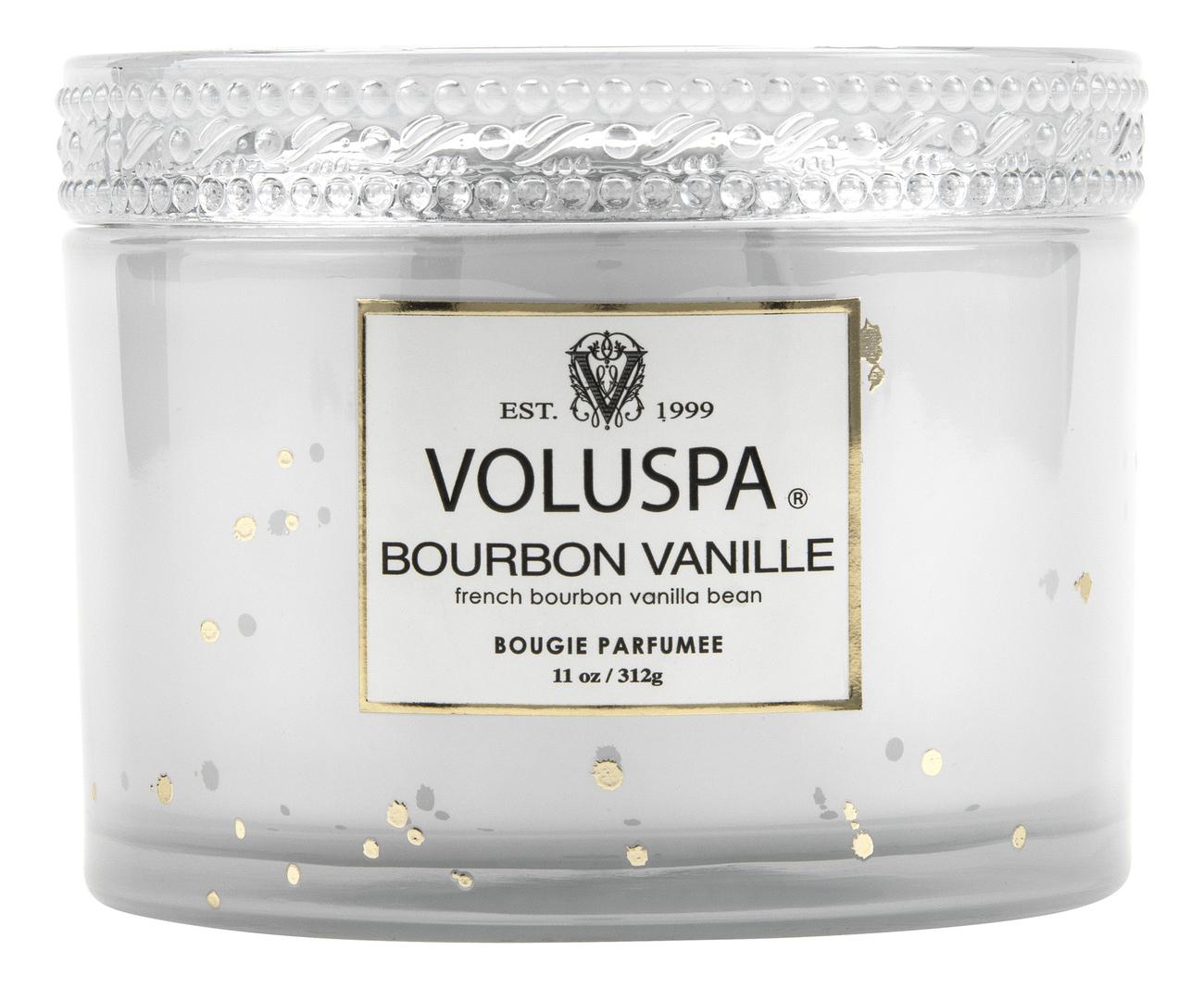 Ароматическая свеча Bourbon Vanille (ваниль Бурбон): свеча в стеклянном подсвечнике с крышкой 312г ароматическая свеча perse bloom пион жасмин и мимоза свеча в стеклянном подсвечнике с крышкой 312г