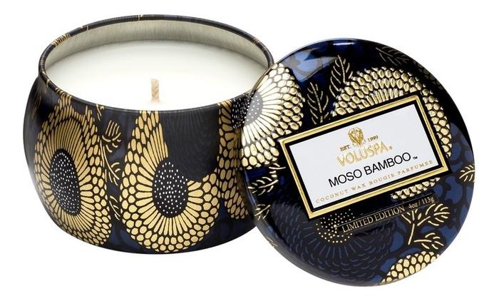 Купить Ароматическая свеча Moso Bamboo (бамбук мосо и японский кипарис): свеча в декоративном подсвечнике 113г, VOLUSPA