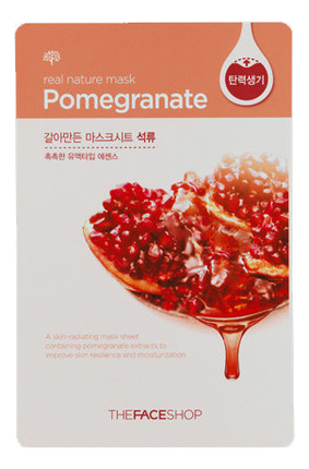купить Тканевая маска для лица с экстрактом граната Real Nature Mask Pomegranate 20г в интернет-магазине