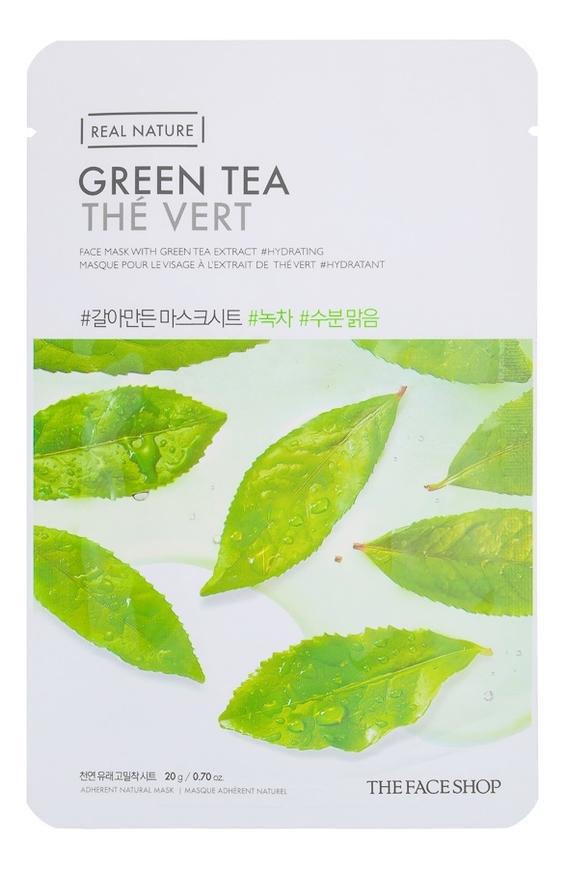 Купить Тканевая маска для лица с экстрактом зеленого чая Real Nature Mask Green Tea 20г, The Face Shop