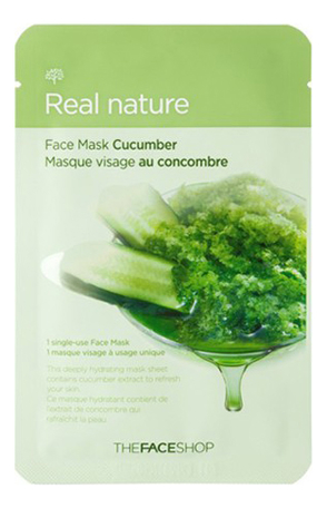 Тканевая маска для лица с экстрактом огурца Real Nature Mask Cucumber 20г недорого