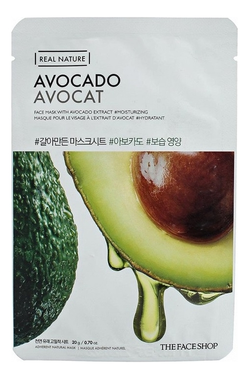 Тканевая маска для лица с экстрактом авокадо Real Nature Mask Avocado 20г недорого