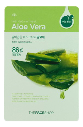 Тканевая маска для лица с экстрактом алоэ Real Nature Mask Aloe Vera 20г