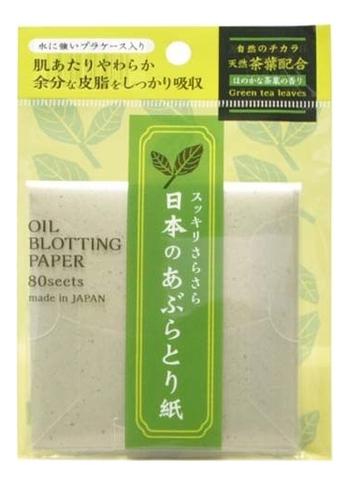 Cалфетки для снятия жирного блеска Oil Blotting Paper 80шт (зеленый чай)