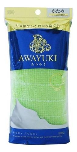 Массажная мочалка для тела жесткая Awayuki Body Towel (салатовая) ohe мочалка awayuki для тела сверхжесткая удлиненная синяя 28х100 см 1 шт