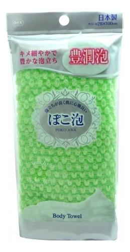 Фото - Массажная мочалка для тела средней жесткости Poko Awa Body Towel: Зеленая мочалка ohe cure series 110х23см средней жесткости жёлтая нейлон