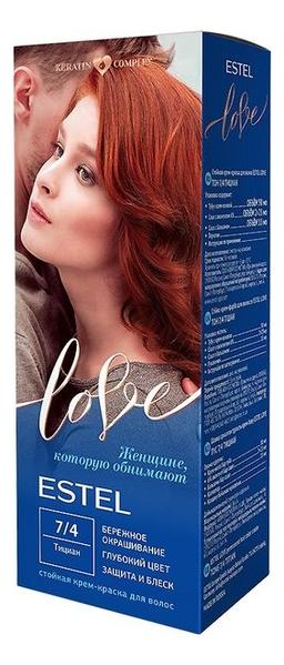 Стойкая крем-краска для волос Love: 7/4 Тициан estel love стойкая крем краска для волос 4 7 мокко