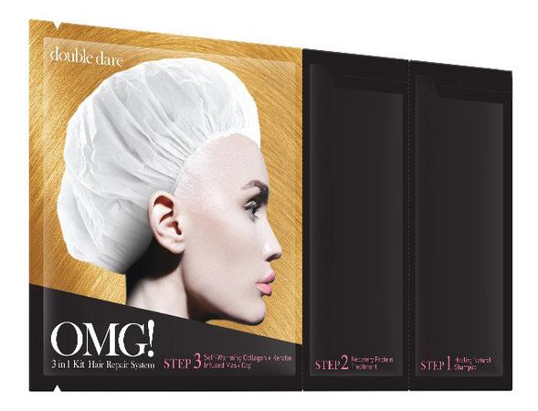 Купить Система для восстановления волос 3 In 1 Hair Repair System (шампунь 12г + восстанавливающая маска 12г + разогревающая маска 10г): Трехкомпонентная система 1шт, Double Dare OMG!