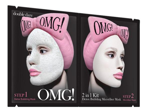Купить Система для глубокого очищения и питания кожи лица 2 In 1 Detox Bubbling Microfiber Mask (кислородная маска 22г + тканевая маска 25г): Двухкомпонентная система 1шт, Double Dare OMG!