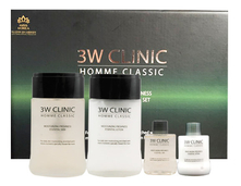 3W CLINIC Набор для лица Homme Classic Moisturizing Freshness Essential 2 Items (тоник 150/30мл + лосьон 150/30мл)