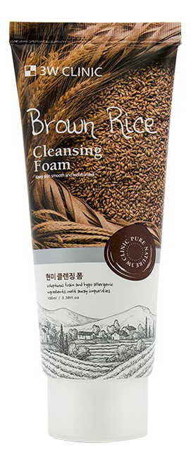Купить Пенка для умывания с коричневым рисом Anti Sebum Brown Rice Foam Cleansing 100мл, 3W CLINIC