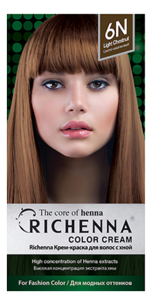 Крем-краска для волос с хной Color Cream 60г: 6N Light Chestnut тонирующий спрей для волос green dry color 300мл light chestnut