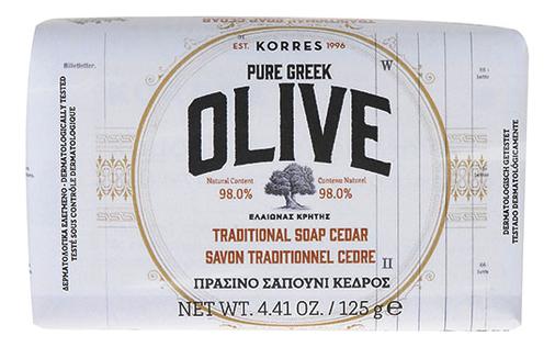 Мыло для рук и тела кедр Pure Greek Olive Traditional Soap Cedar 125г