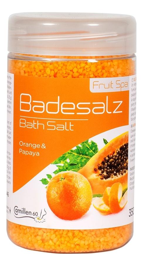 Соль для ножных ванн восстанавливающая Апельсин и Папайя Badesalz Orange-Papaya: Соль 350г соль для ножных ванн расслабляющая киви и мелисса badesalz kiwi melisse соль 1350г