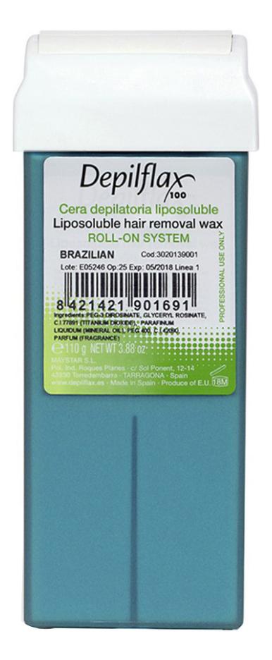 Воск в картридже для сухой кожи Бразильский Brazilian Liposoluble Hair Removal Wax 110г (плотный)