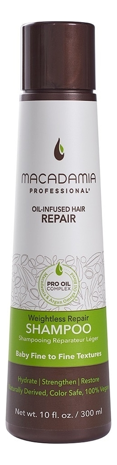 Купить Увлажняющий шампунь для тонких волос Professional Weightless moisture Shampoo: Шампунь 300мл, Macadamia