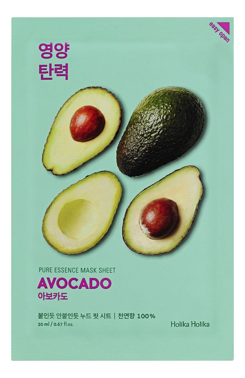 Купить Успокаивающая тканевая маска для лица с экстрактом авокадо Pure Essence Mask Sheet Avocado 20мл: Маска 1шт, Holika Holika