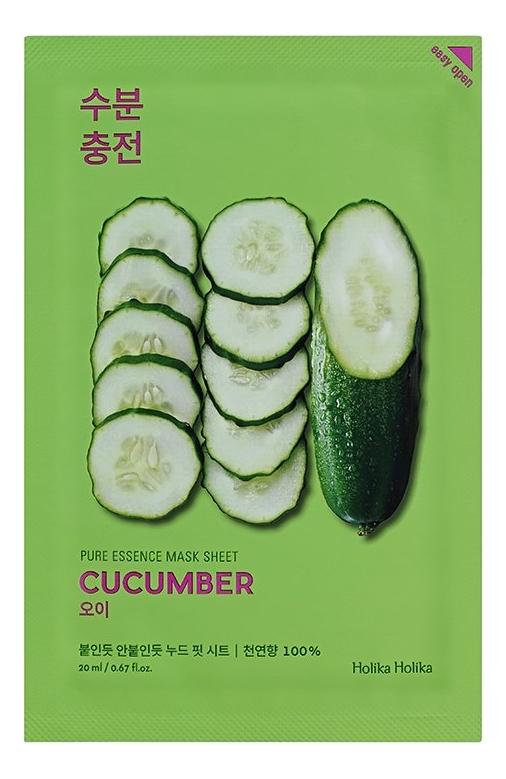 Успокаивающая тканевая маска для лица с экстрактом огурца Pure Essence Mask Sheet Cucumber 20мл: Маска 1шт