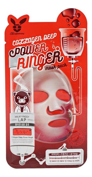 Купить Тканевая маска для лица с коллагеном Collagen Deep Power Ringer Mask Pack: Маска 23мл, Elizavecca