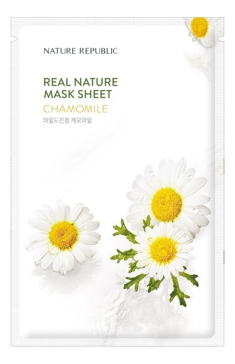 Тканевая маска для лица c экстрактом ромашки Real Nature Mask Sheet Chamomile 23мл