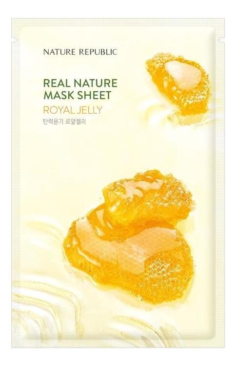 Тканевая маска с экстрактом пчелиного маточного молочка Real Nature Mask Sheet Royal Jelly 23мл фото