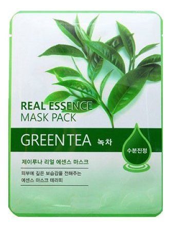 Тканевая маска для лица с экстрактом зеленого чая Real Essence Mask Pack Green Tea 25мл, JUNO  - Купить