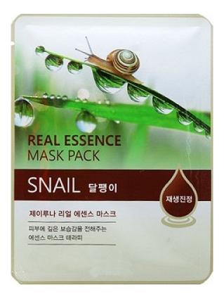 Тканевая маска для лица с экстрактом улиточной слизи Real Essence Mask Pack Snail 25мл: Маска 1шт гель для лица с улиточной слизью