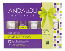 Andalou Naturals Набор для лица Age Defying Get Started (молочко 24мл + тоник-спрей 30мл + маска 15мл + ночной крем 12мл + пептидный крем 12мл)